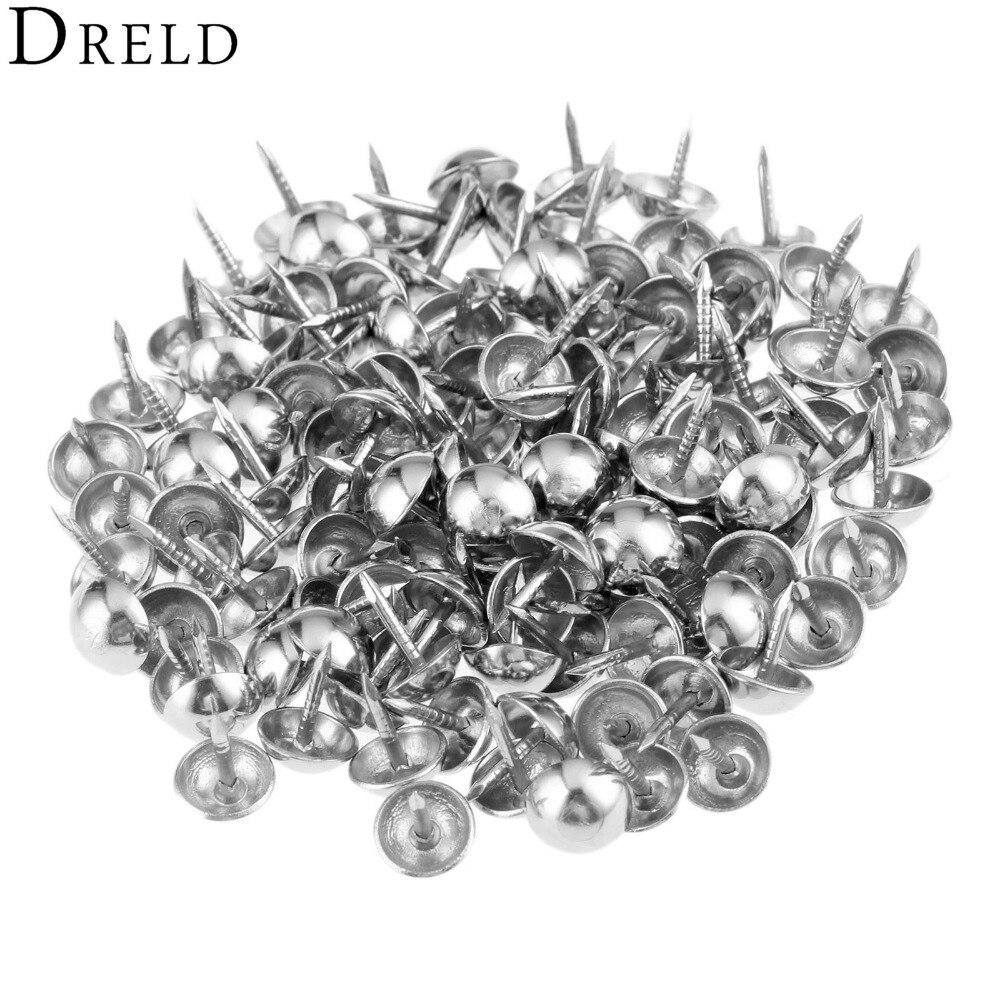 DRELD 100Pcs Silvery Upholstery Nail Tachas Jewelry Gift Case Box Sofa Furniture Decorative Tacks Stud Pushpin Hardware 7x10mm