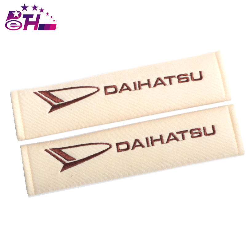 2pcs Car Safety Belt embroidery pattern covers seat belt fit for Daihatsu D-base D-R PICO Seat Cover cotton Shoulder Pad
