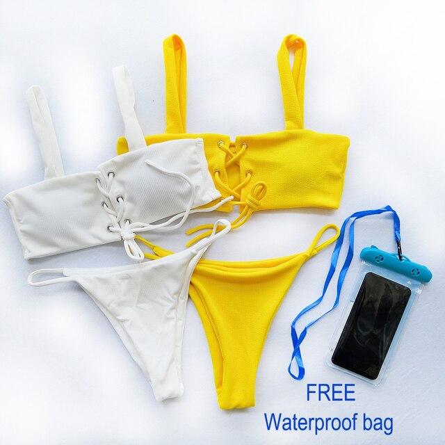 3ae4e16f9cb Imayio 2019 bikini Ribbed bikini set women sexy swimsuit Lace up top  stylish bathing suit wide