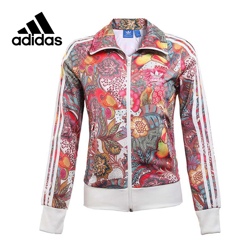 Original New Arrival Official Adidas Women's Jacket Breathable Stand Collar Sportswear rose print voile splicing stand collar zip up jacket