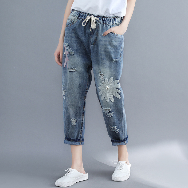 New women's PANT Korean version of the elastic waist embroidery loose large size washed holes   jeans   women's pants