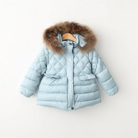 Girls Winter jacket with fur kids coats with real fur Winter Jacket for girls Baby girl clothes Kids Parkas for girl coat red