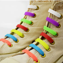V-tie Brands 12Pc/lot Unisex Women Lady Men No Tie Silicone Shoelaces Children Elastic Shoe Laces All Fit Strap Sneaker Laces