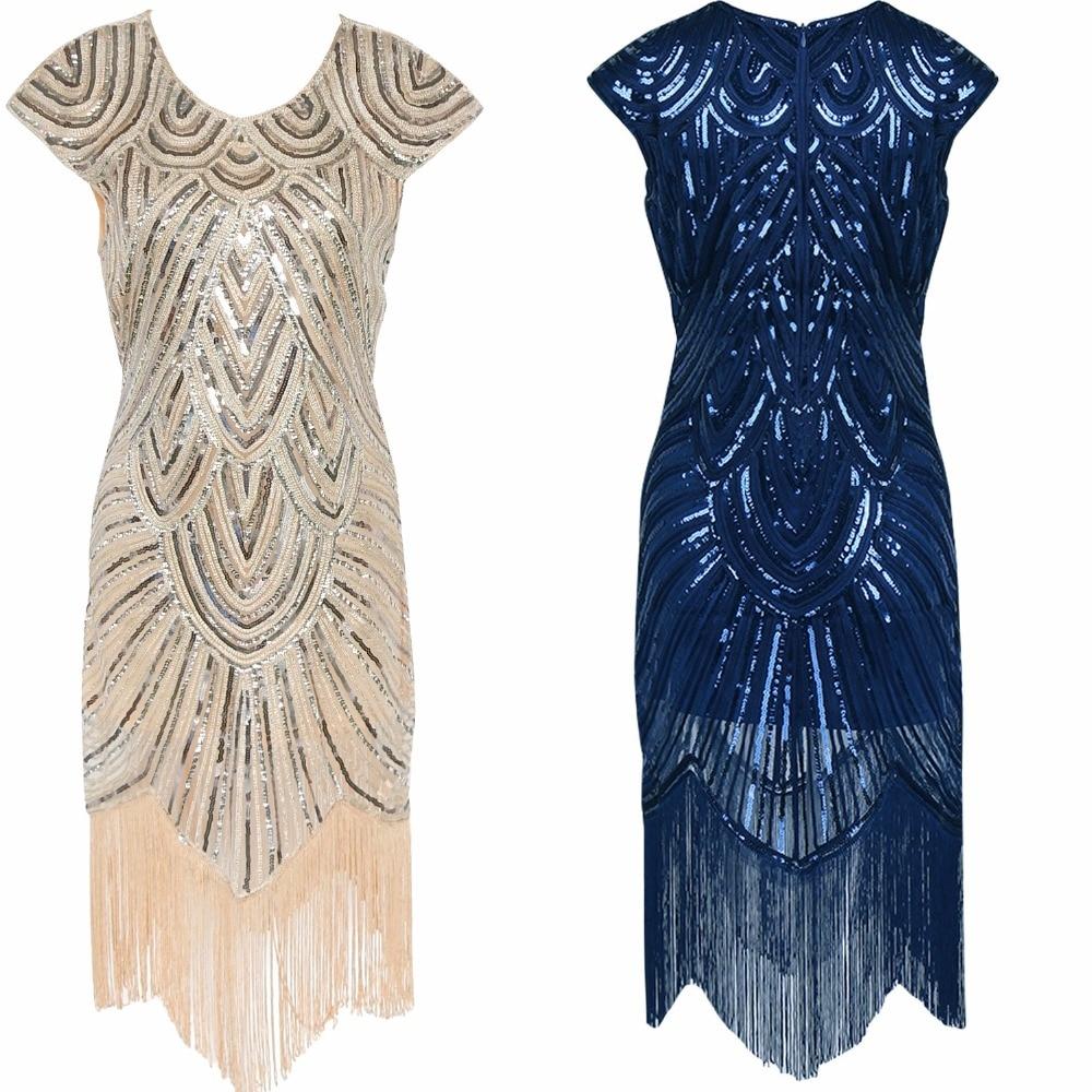 Elegant Gatsby Dress Women Tassel Sequined Party Dresses