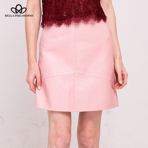 Image 2 - Bella Philosophy winter high waist Skrit PU faux leather women skirt pink yellow black green blue zipper mini skirt women