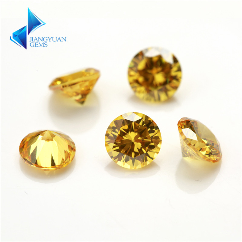 1000pcs 0.8~4mm 5A Cubic Zirconia Loose cz stone Hot Sale Golden Yellow cz round cut Synthetic gems stone