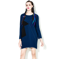 [XITAO] Korea fashion 2017 original design spring stitching o-neck pullover straight dress casual female jean dress HW003