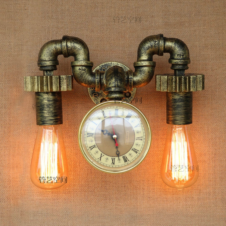 New Fashion Wroguht Iron Water Pipe Wall Lamp Vintage Aisle Lights Loft Iron Wall Lamps Edison Incandescent Coffee Light Bulb free shipping water pipe wall lamp vintage aisle lamp loft iron wall lamp perfectly matching e27 edison incandescent light bulb