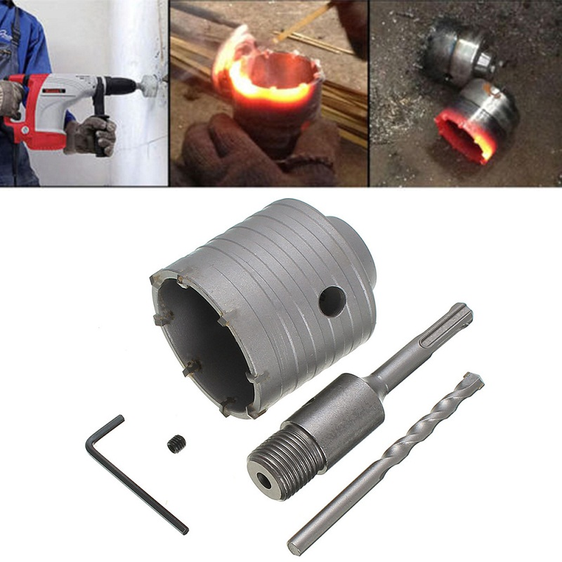 Electric Hammer Cement Stone Wall Hollow Bit Tapper Hole Opener Concrete Drills 65+200MM stones bricks concrete cement stone 50mm wall hole saw drill bit 200mm round rod