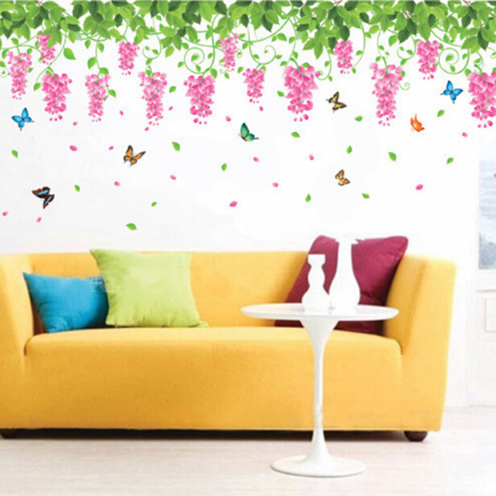 New Romantic Wisteria Room Living Room TV Background Wall Stickers ...