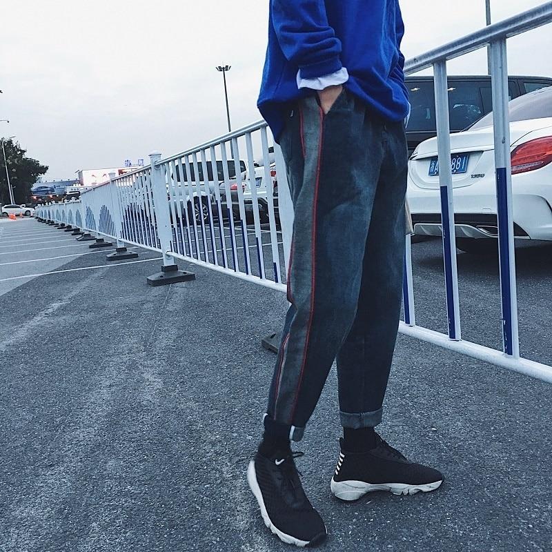 2017 Winter New font b Men s b font Baggy Fashion Biker Denim Pants Hip Hop