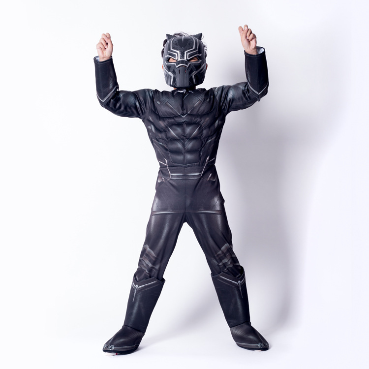 Ainiel Kids Black Panther Muscle Costume Civil War American Captain Cosplay Superhero Halloween Party Fancy Dress Jumpsuit Boy