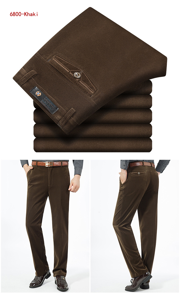 HTB1Kd9GdjfguuRjSspaq6yXVXXaS Autumn Spring corduroy trousers men's leisure pants high waist straight middle-aged wash and wear business casual corduroy pants