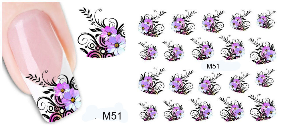BinHin 1Pcs Water Transfer Nail Art Stickers On Your Nails Decals Beauty Nail Design Manicure DIY Nail Decoration Tools Beauty Makeup