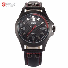SHARK ARMY Brand New Red Black 3D Electroplate Plaid Date Display Military Waterproof Mens Quartz Leather Band Watches /SAW144