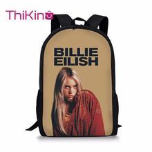 Thikin Billie Eilish Students School Bag for Girls Teens Backpack Supplies Package Shopping Shoulder Women Mochila