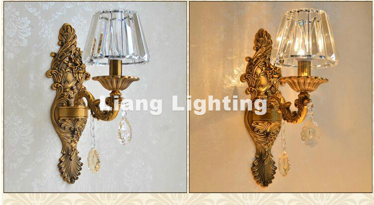 European Luxury Zinc Alloy Crystal Wall Lamp lustres de Crystal Candle Lamp Corridor Style Wall Sconces Fixture Free Shipping ...