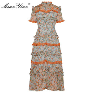 Image 2 - MoaaYina Fashion Designer Runway dress Spring Summer Women Dress Short sleeve Lace Ruffles Floral Print Chiffon Dresses