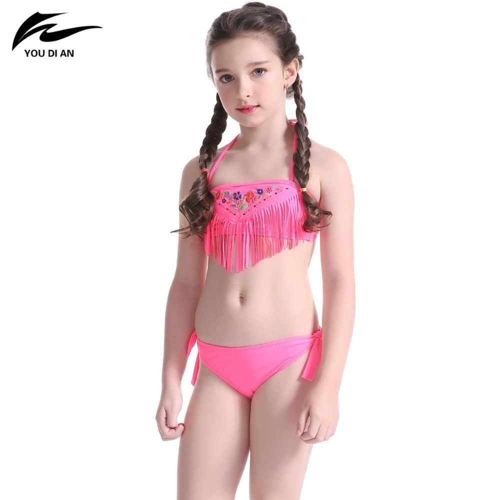 1f90b98ecd356 ... kids Swimwear Tassel Lovely for girl swim wear Pattern Beach Wear  Halter Bathing Suit Bandage swimsuit ...