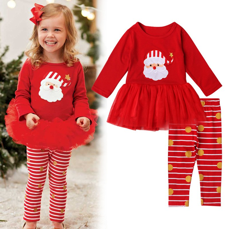 Merry Christmas Clothes Cosumes Girl Clothing Set Cotton Long Sleeve Santa Dress +Striped Pants Leggings Outfit 2-6 Y 2pcs children outfit clothes kids baby girl off shoulder cotton ruffled sleeve tops striped t shirt blue denim jeans sunsuit set