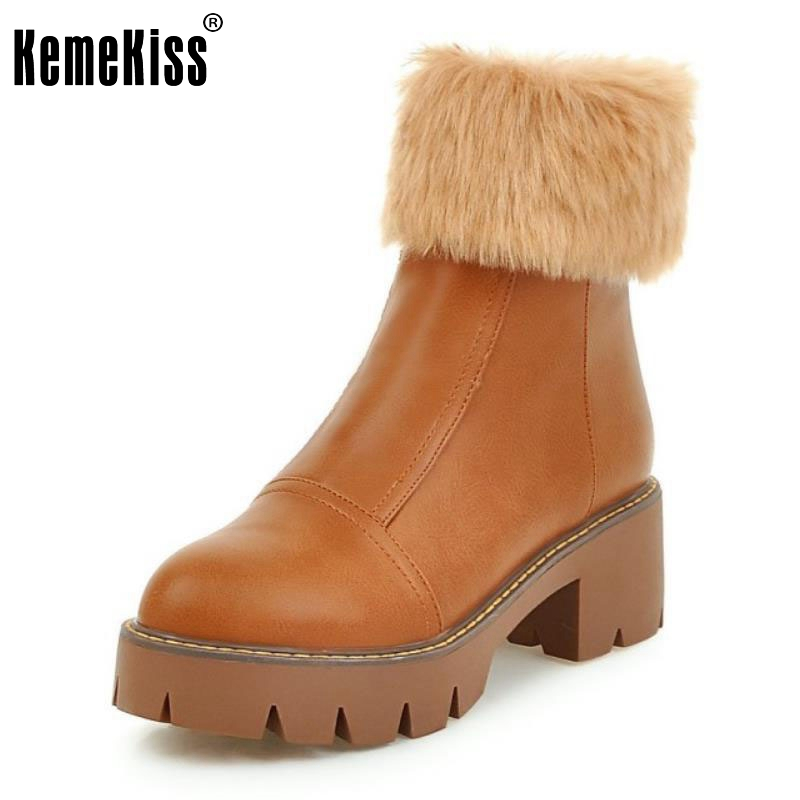 Fashion Women Fur Ankle Boots Gladiator Chunky High Heels Platform Shoes Woman British Round Toe Martin Boot Size 34-43 riding boots chunky heels platform faux pu leather round toe mid calf boots fashion cross straps 2017 new hot woman shoes