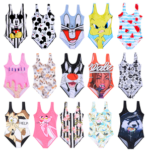 21 Pattern One-Piece 3D Cartoon Swimwear Women Open Back Bikini 2019 Monokini Swimming Suit Backless Beach Wear Women Swimsuit(China)