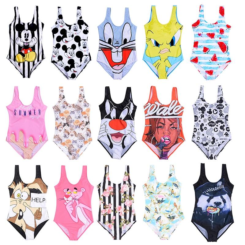 21 padrão 3d dos desenhos animados de uma peça de banho feminino pacote aberto biquíni 2019 monokini terno de natação sem costas beach wear maiô feminino