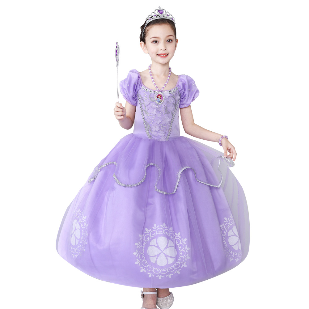 Kids Girls vestido princesa sofia dresses Children Clothes For Girl dress Puff Sleeve Vestido infant Party wear Long dress