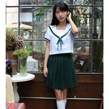 4a3c075850 Alta calidad de manga larga Top + plisado Faldas traje académico uniforme  escolar japonés Niñas oy