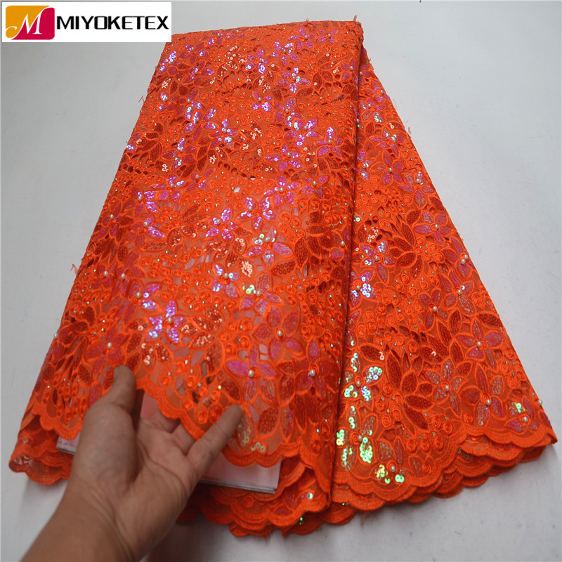 New Arrival African Lace Fabric High Quality 2019 Organza French Lace Sequins Embroidered Lace Fabric For