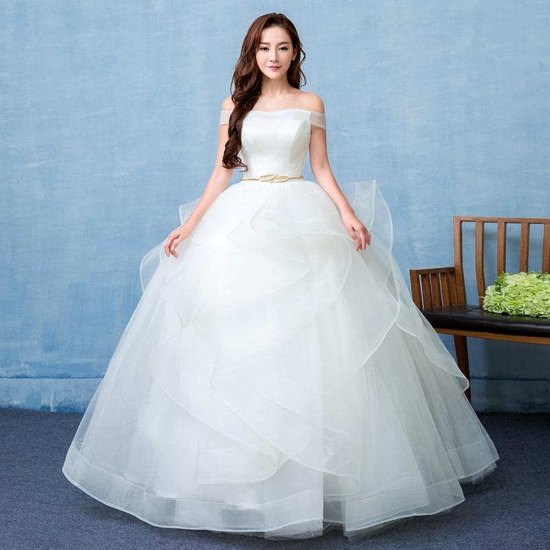 New Arrival With Belt Sexy Boat Neck Wedding Dresse Off The Shoulder Lace Up Vintage Bridal Ball Gown Vestido De Noiva L