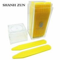 SHANH ZUN 30 Yellow Plastic Dress Shirt Collar Stays Stiffeners Inserts Point Collar In Clear Plastic