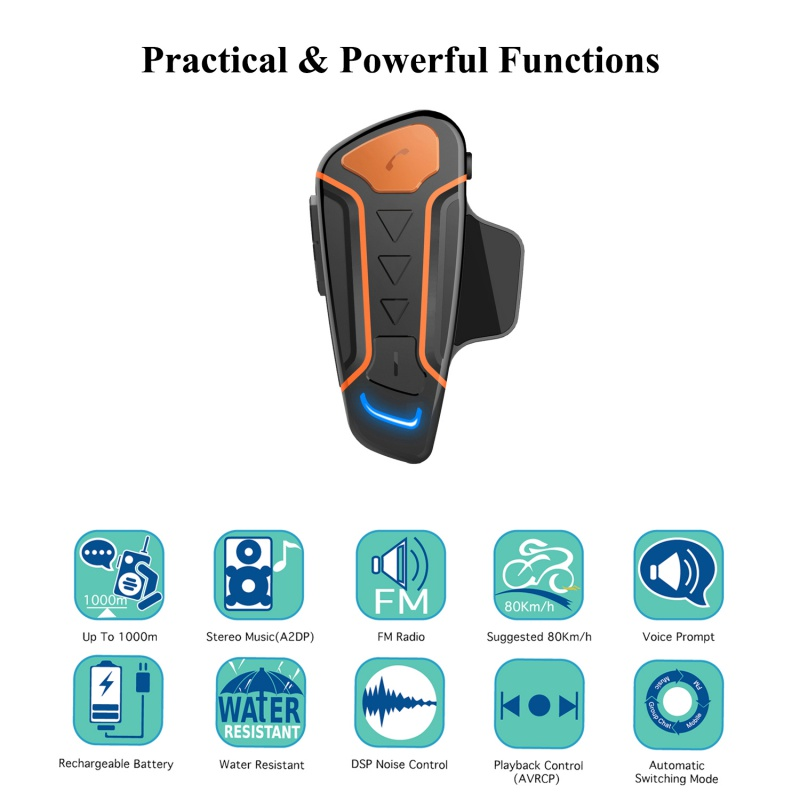 New Bluetooth Helmet Anti-interference For Motorcycle Helmet Riding Hands Free Headphone Motorcycle Bluetooth Intercom