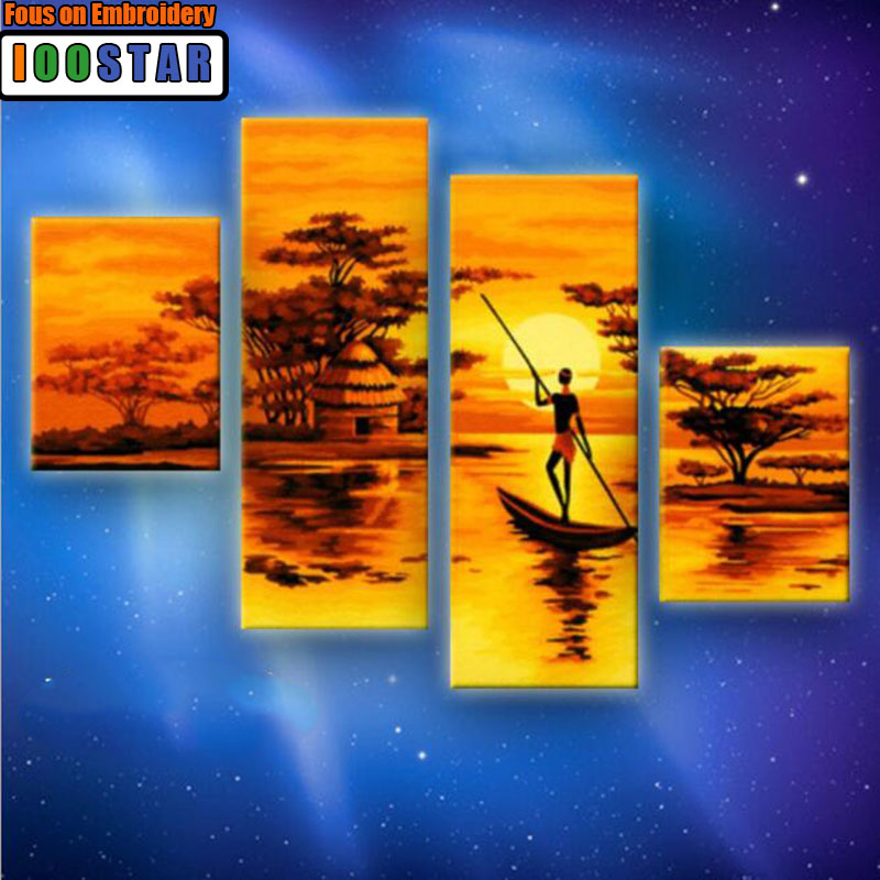 90X120cm Frameless Sunset Fishing Sea Landscape DIY Painting By Numbers Kit Paint On Canvas Painting Calligraphy For Home Decor