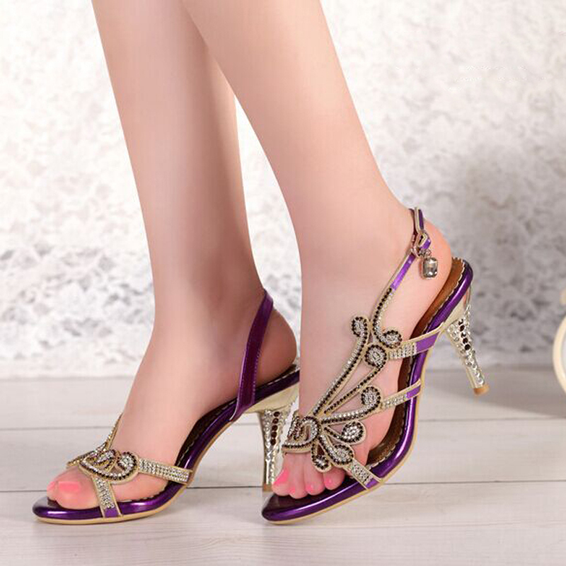 ФОТО Fashion High Heel 3 Colors Sandals Rhinestone Open Toe Lady Bridesmaid Summer Cool Elegant Shoes Bridal Wedding Dresses Shoe