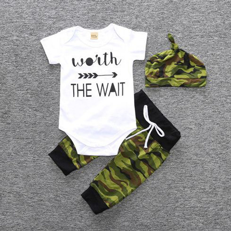 2018 summer baby boy white cotton letter print T-shirt+camouflage pant+hat clothing set kid outfits sport suit цена и фото
