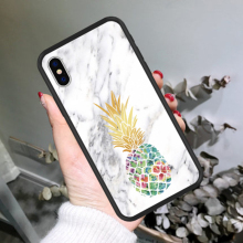 High Quality Pineapple Pattern Phone Case For iPhone X XS MAX XR Hot-selling Marble Two-in-one Cases Back Cover For iPhone 6 7 8 two tone marble pattern iphone case