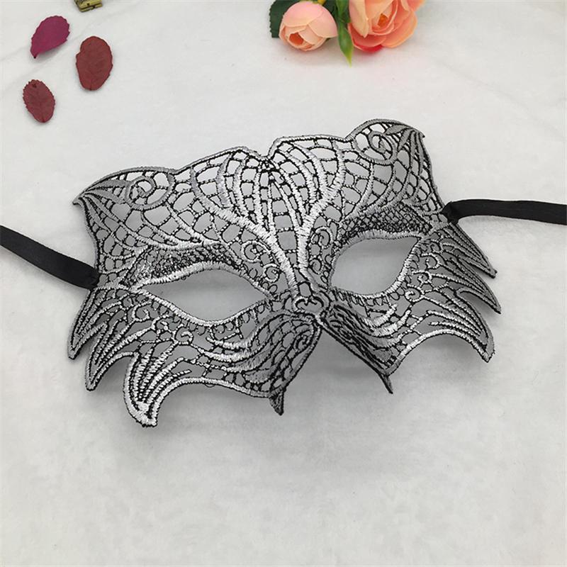 Серебряная горячая штамповка Дамская Сексуальная Маскарадная маска из кружева для карнавала, Хэллоуина, выпускного вечера, Вечерние Маски, маска для глаз#35 - Цвет: PM039TS