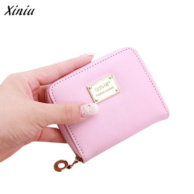 low priced fbd83 f7b58 US $3.06 |Cute Women's Wallets Short coin bag Fashion Brands Ladies Credit  Card Holder Leather Zip Coin Purses 2 Folds Wallet Female-in Wallets from  ...