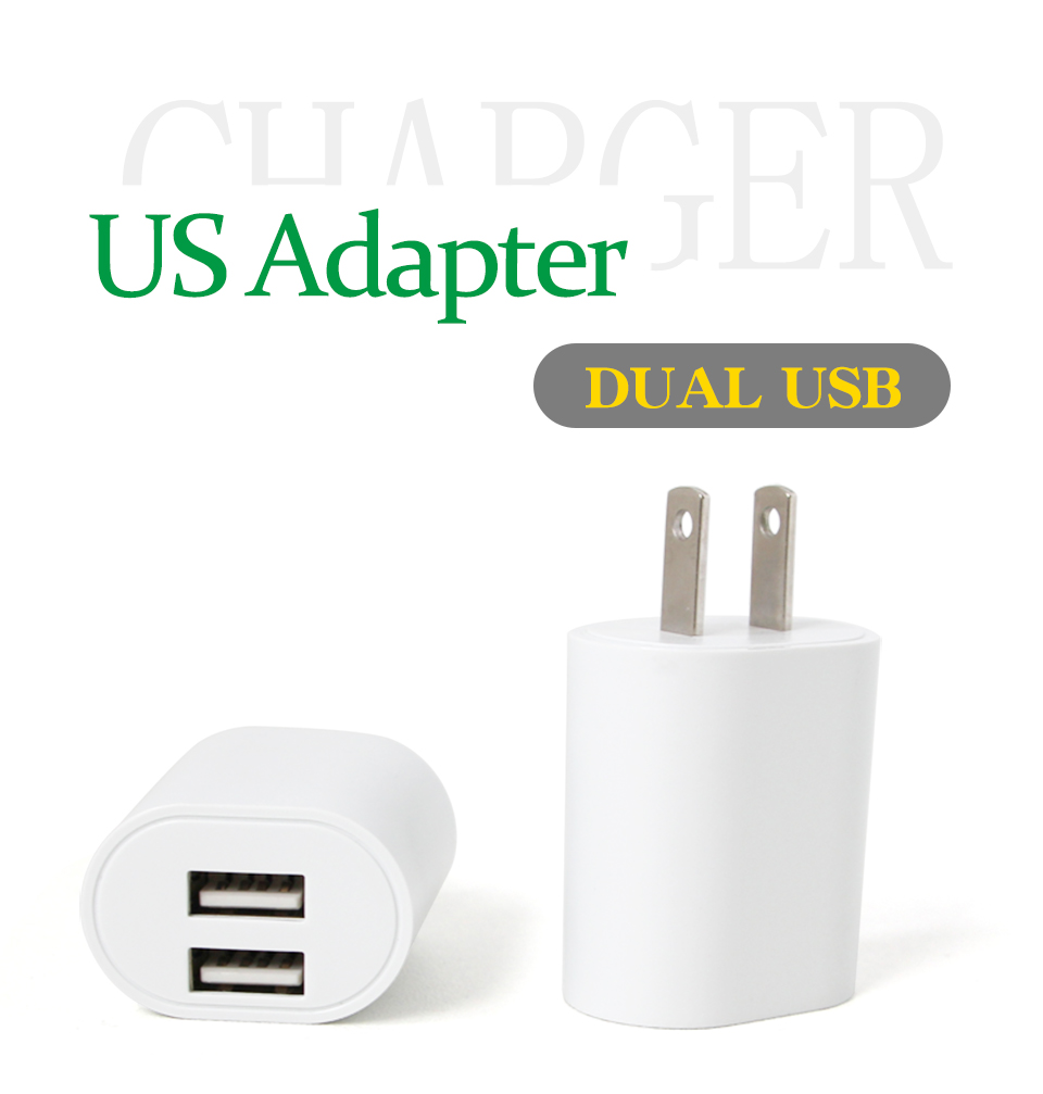 1PC US Adapter 5V2.1A Dual USB Charger For Smart Mobile Phone Charging ACDC Adaptor Travel in Japan Thailand Canada Mexico (1)