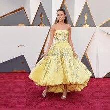 Alicia Vikander 2016 Oscars Red Teppich Luxus Abendkleid Gelb Kristall Perlen High Low Celebrity Prom Kleider Vestido Longo
