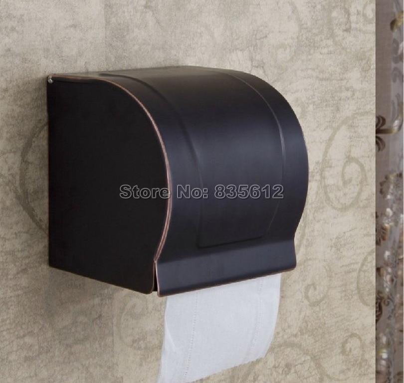 Modern Black Oil Rubbed Bronze Bathroom Toilet Roll Holders Box Wall Mounted Wba302 bathroom accessories black oil rubbed bronze toothbrush holders band ceramic cups wba474