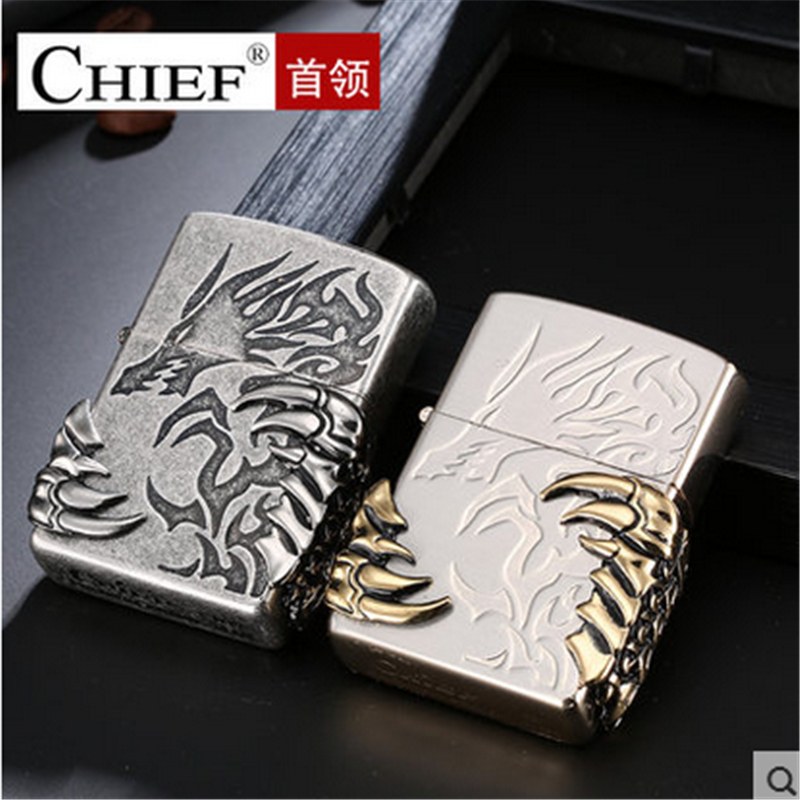 Image 2 - Talon Lighter Men Gadgets Dragon Paw Kerosene Oil 3D Petrol Lighter Gasoline Retro Relief Lighter-in Cigarette Accessories from Home & Garden