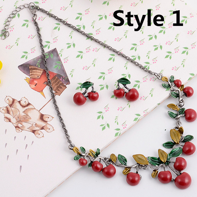 1 Set Fashion Red Cherry Jewelry Set Metal Bridal Necklace Earrings Chic 2018