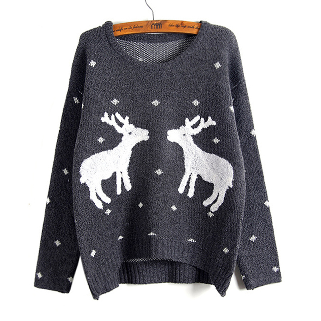 5a12dd0b90 Hot Sale Winter Christmas Women Reindeer Sweater Female Deer Fashion  Thicken Pullovers Lady Knitted Cotton Sweaters Top WM1078