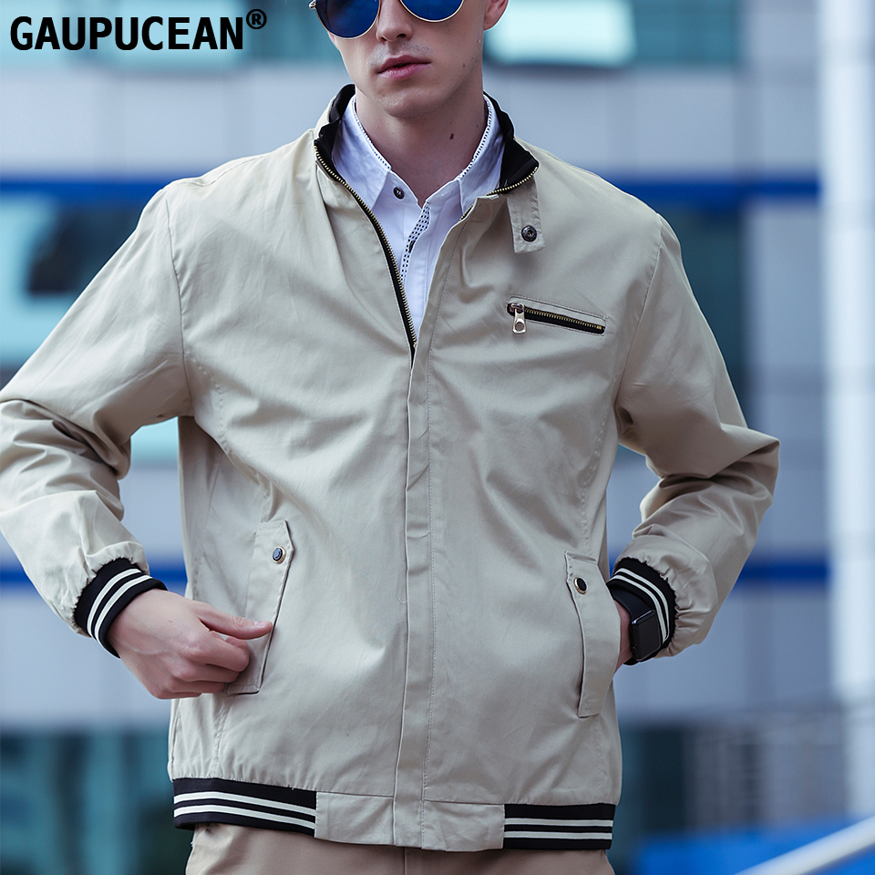 Gaupucean Spring Autumn Winter Man 100% Cotton Stand Collar Rib Long Sleeve Male Solid Zippers Navy Beige Casual Men Jacket