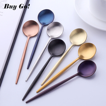 High Quality 18/10 Stainless Steel Small Tea Spoon Flatware Set Mini Spoons Colorful Coffee Gold Silver Scoop