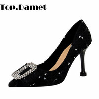 Top.Damet Woman Pumps Pointed Toe Sexy High Heel Party Shoes Butterfly Knot Rhinestone Spring Autumn Shallow Shoes for Ladies