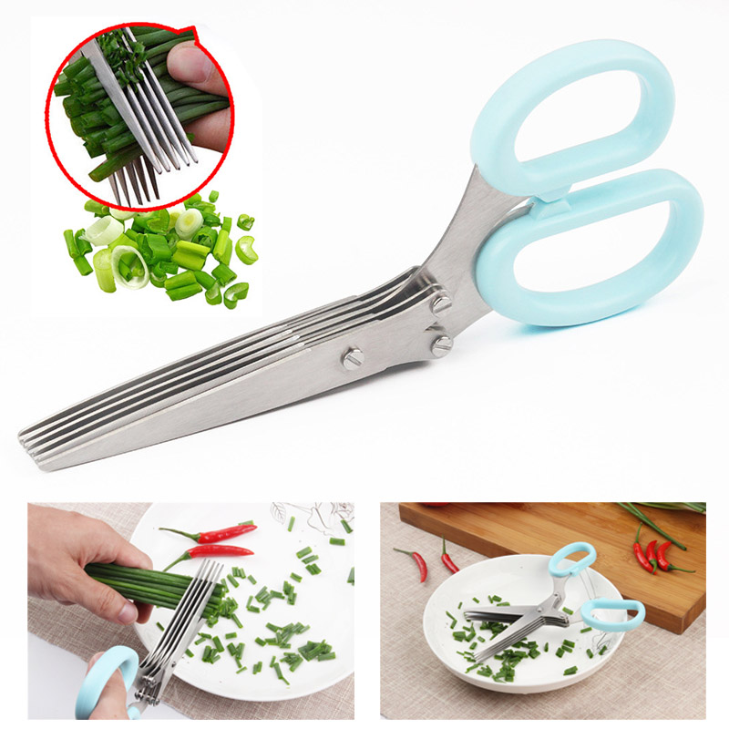 Pratical Stainless Steel Kitchen Knives 5 Layers Scissors Shallot Shredded,Spices Shredded CLH@8 d and k da1323301 page 2