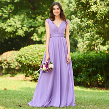 Tanpell purple long bridesmaid dress v neck sleeveless a line lace backless elegant custom wedding party gown dresses